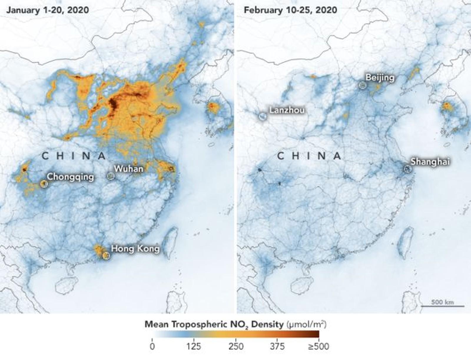 Diminuição da poluição na China (Foto: Nasa)