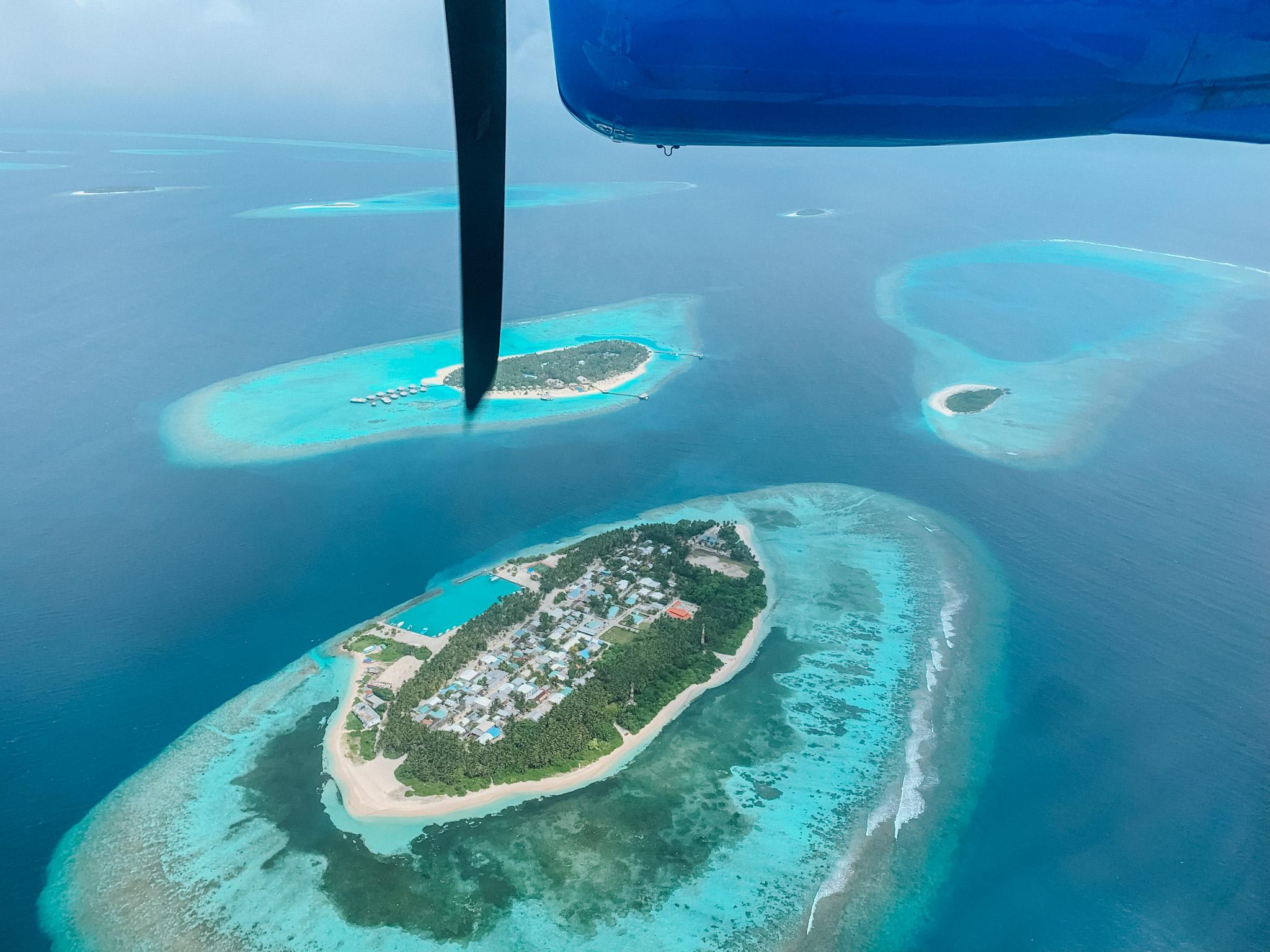 Vista das Maldivas do hidroavião (Foto: Trip To Follow)